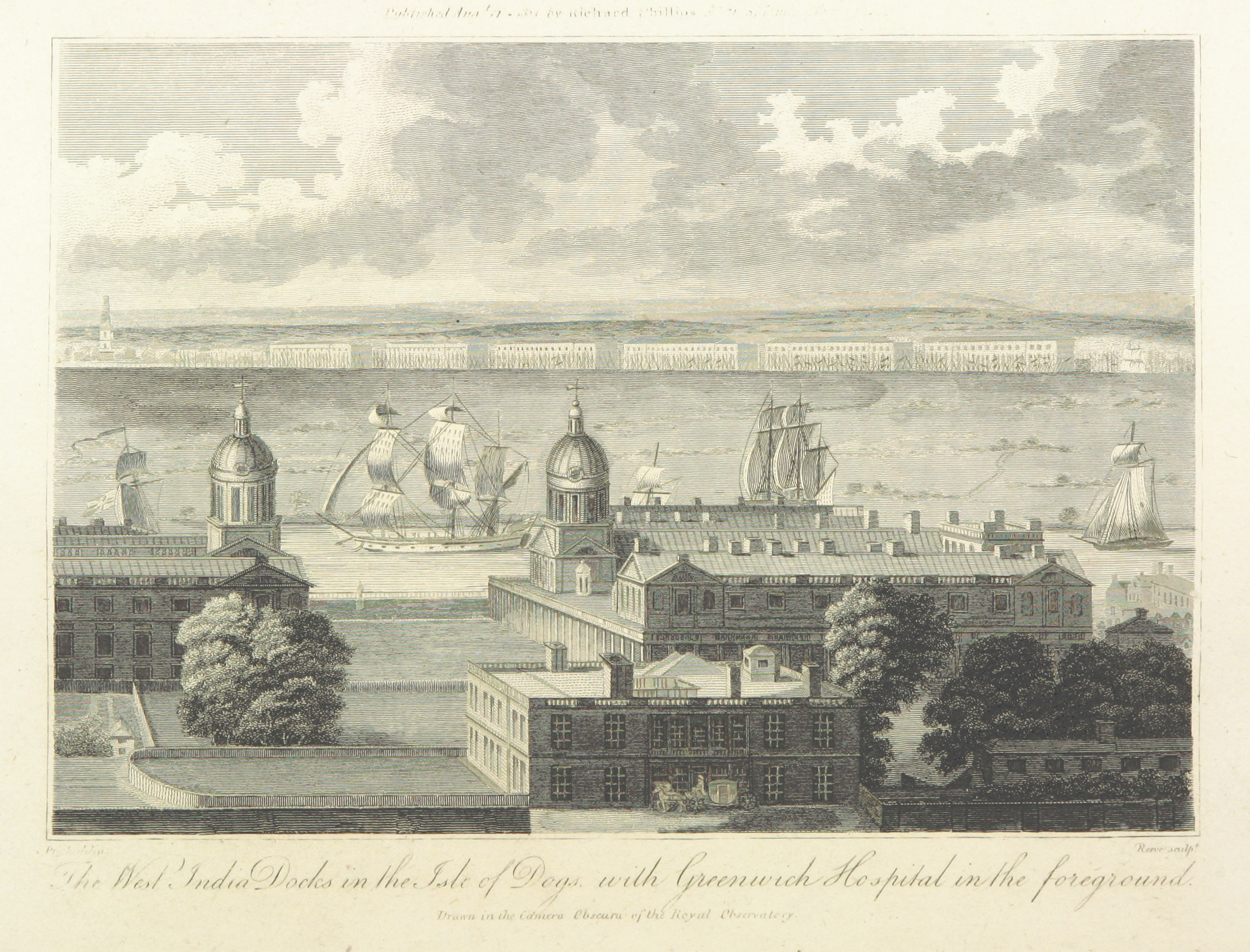 Phillips(1804)_p176_-_The_West_India_Docks_in_the_Isle_of_Dogs_with_Greenwich_Hospital_in_the_foreground