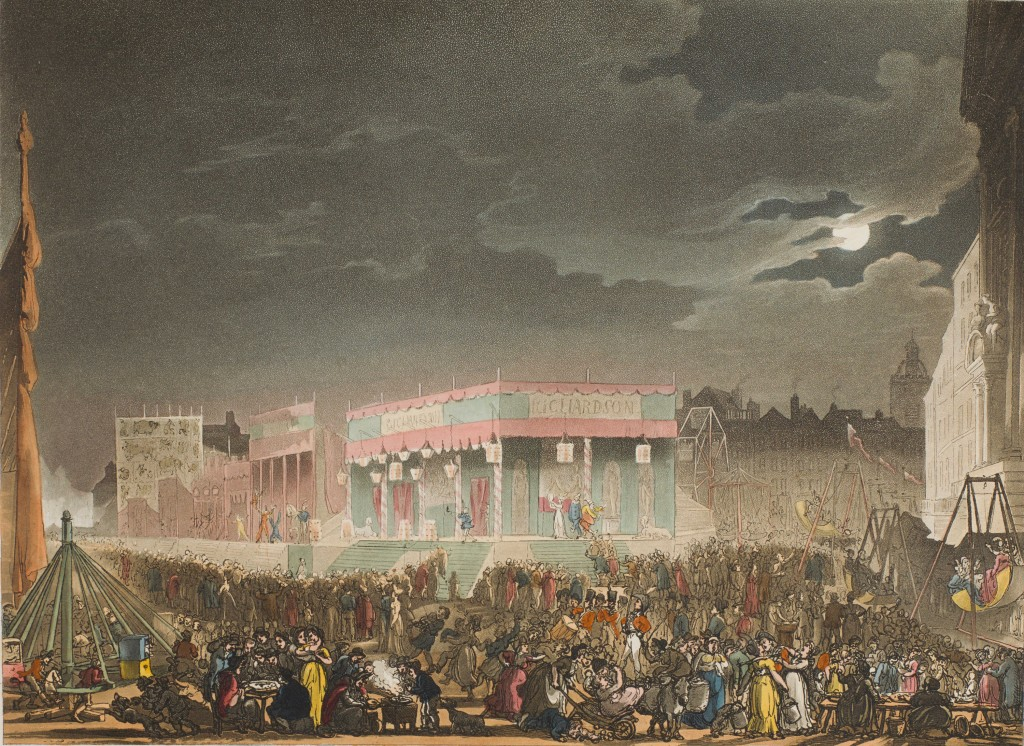 Plate No. 8: Bartholomew Fair. Kindly provided by the Lewis Walpole Library, from their copy of the Microcosm.