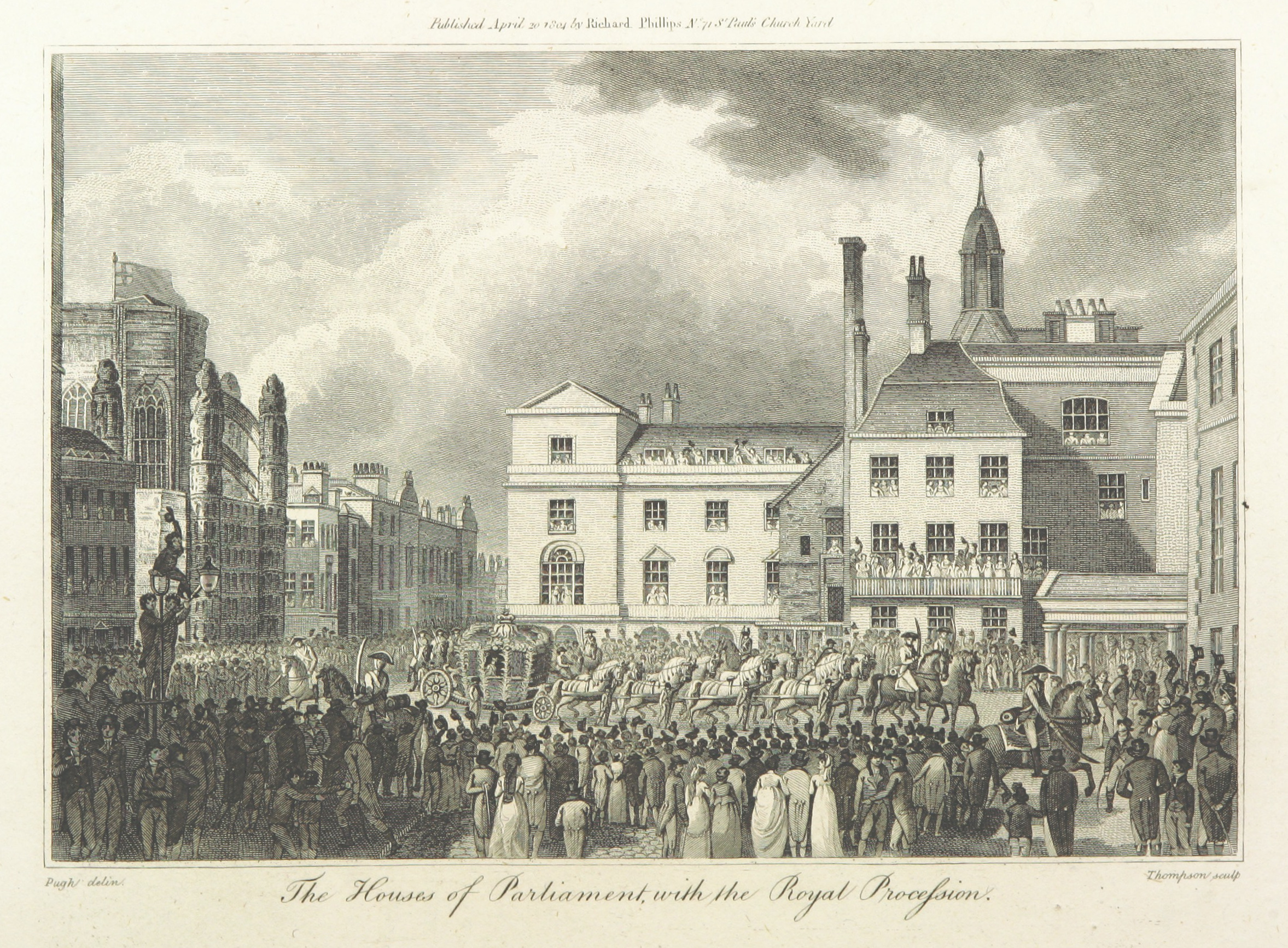 Phillips(1804)_p288_-_The_Houses_of_Parliament_with_the_Royal_Procession