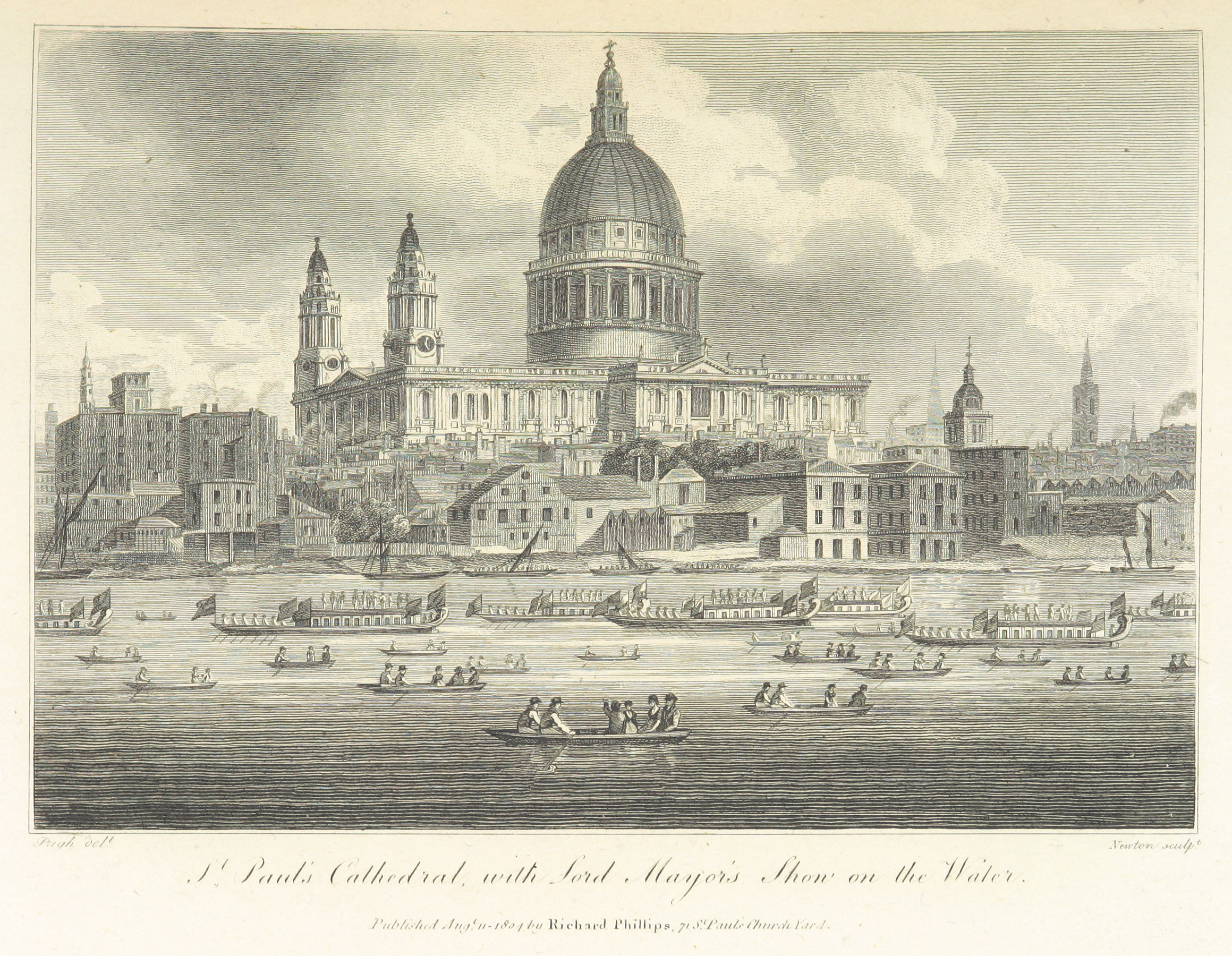 Phillips(1804)_p341_-_St_Pauls_Cathedral_with_Lord_Mayors_Show_on_the_Water