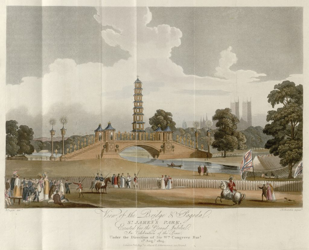 07 - Papworth - View of the Bridge & Pagoda, St James's Park, Erected for the Grand Jubilee, In Celebration of the Peace, Under the Direction of Sir Wm Congreve Bart