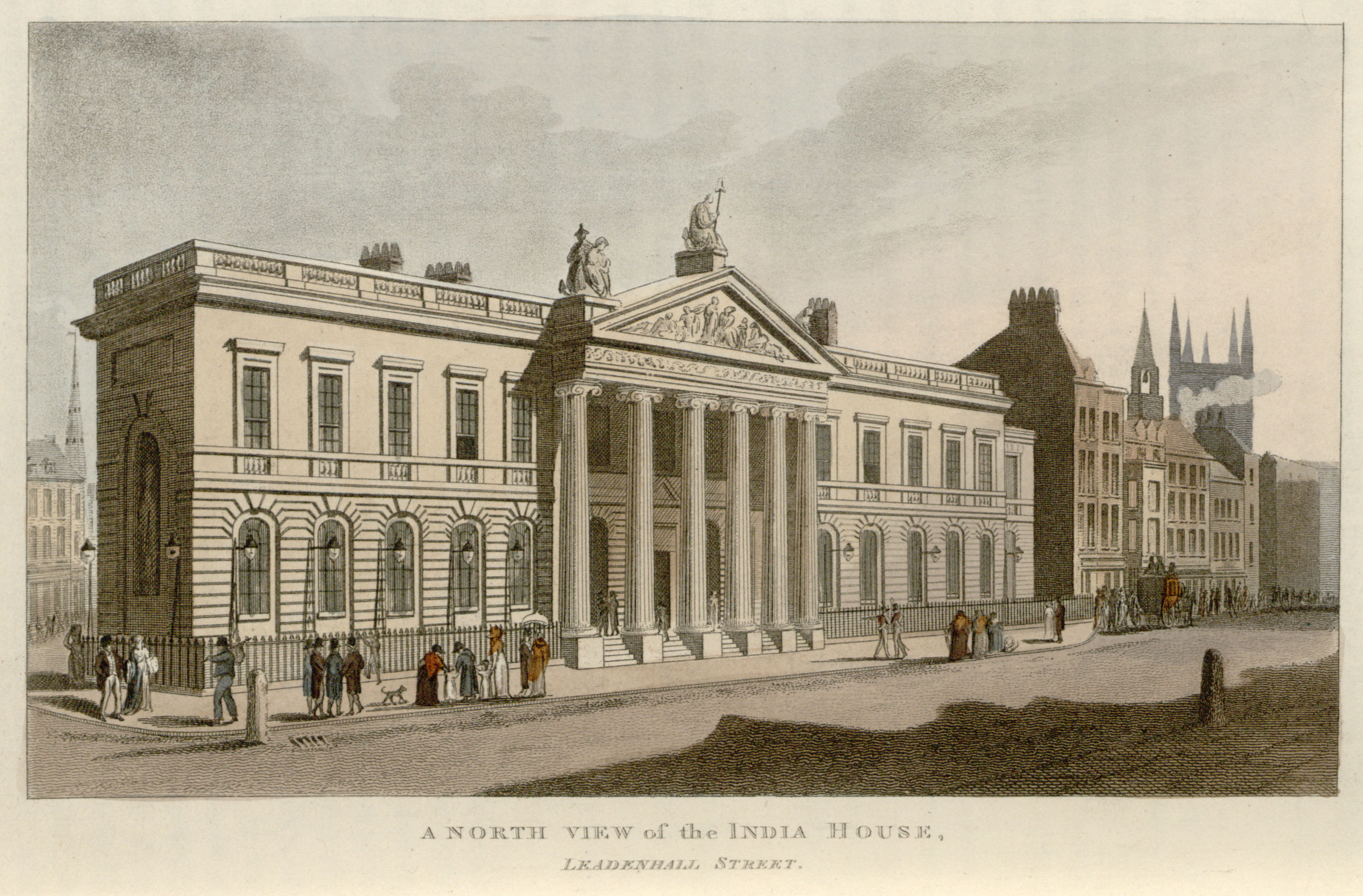 56 - Papworth - A North View of the India House, Leadenhall Street
