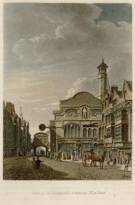 61 - Papworth - View of St Dunstan's Church, Fleet Street
