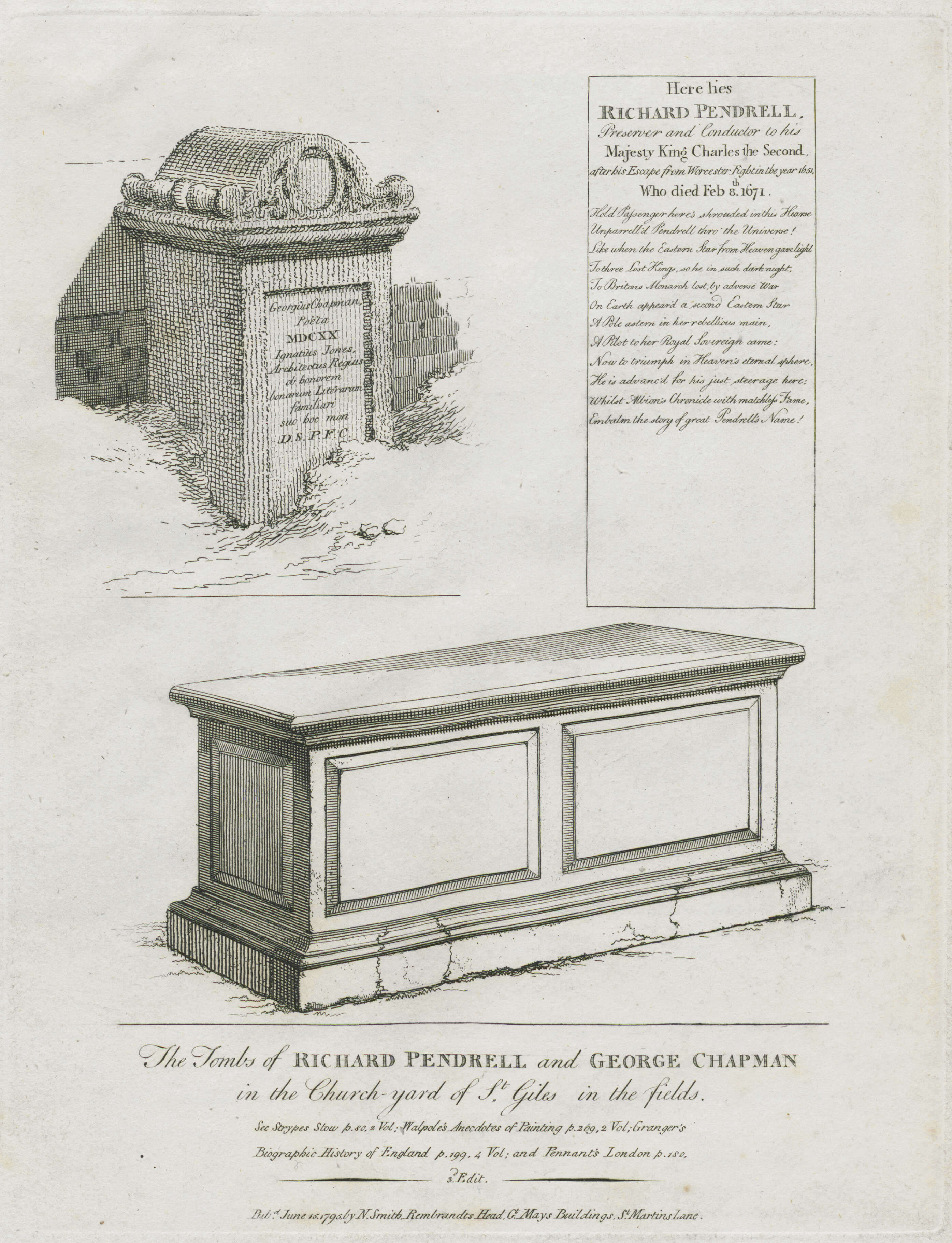 64-the-tombs-of-richard-pendrell-and-george-chapman-in-the-church-yard-of-st-giles-in-the-fields