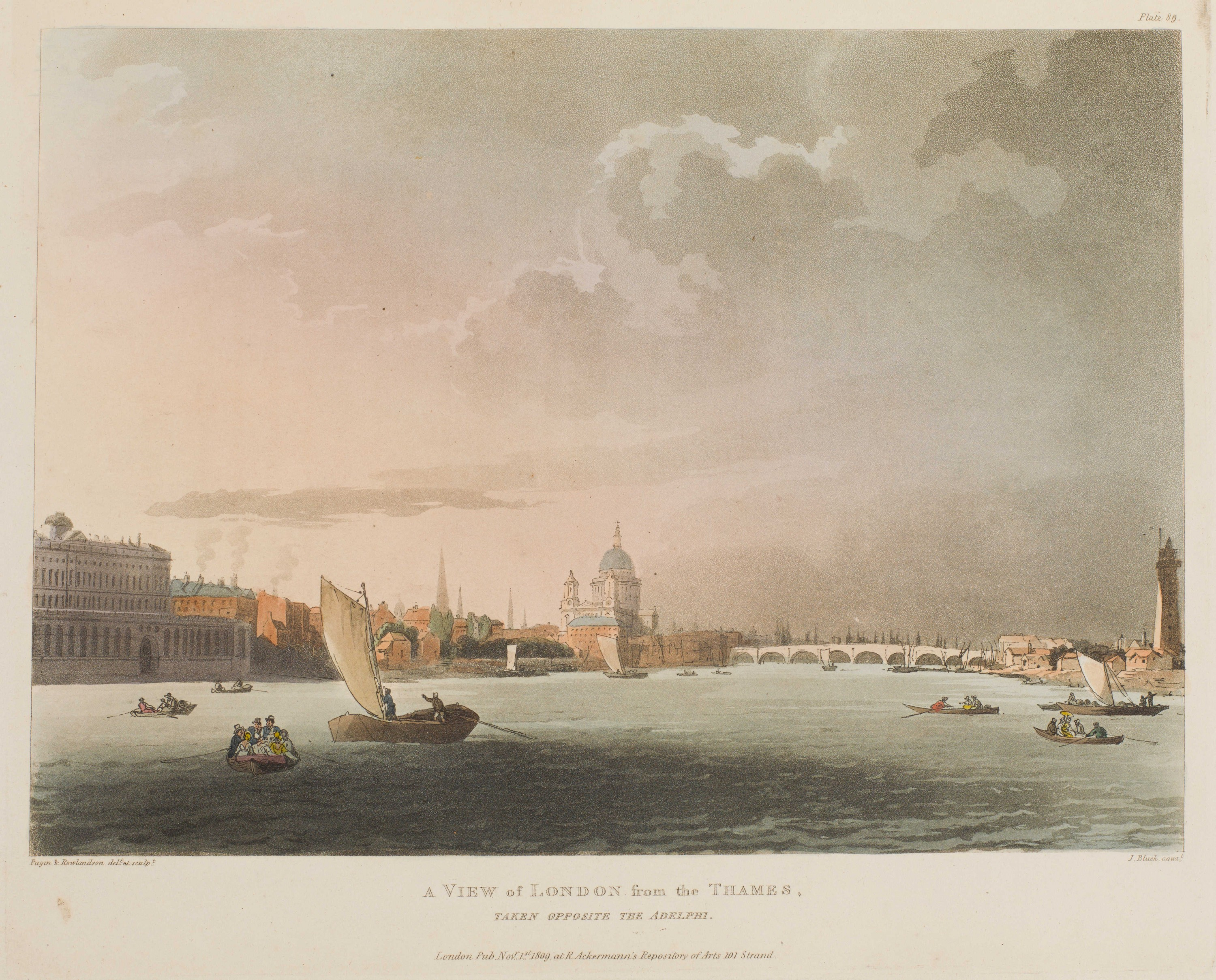 104 - A View of London from the Thames, taken opposite the Adelphi