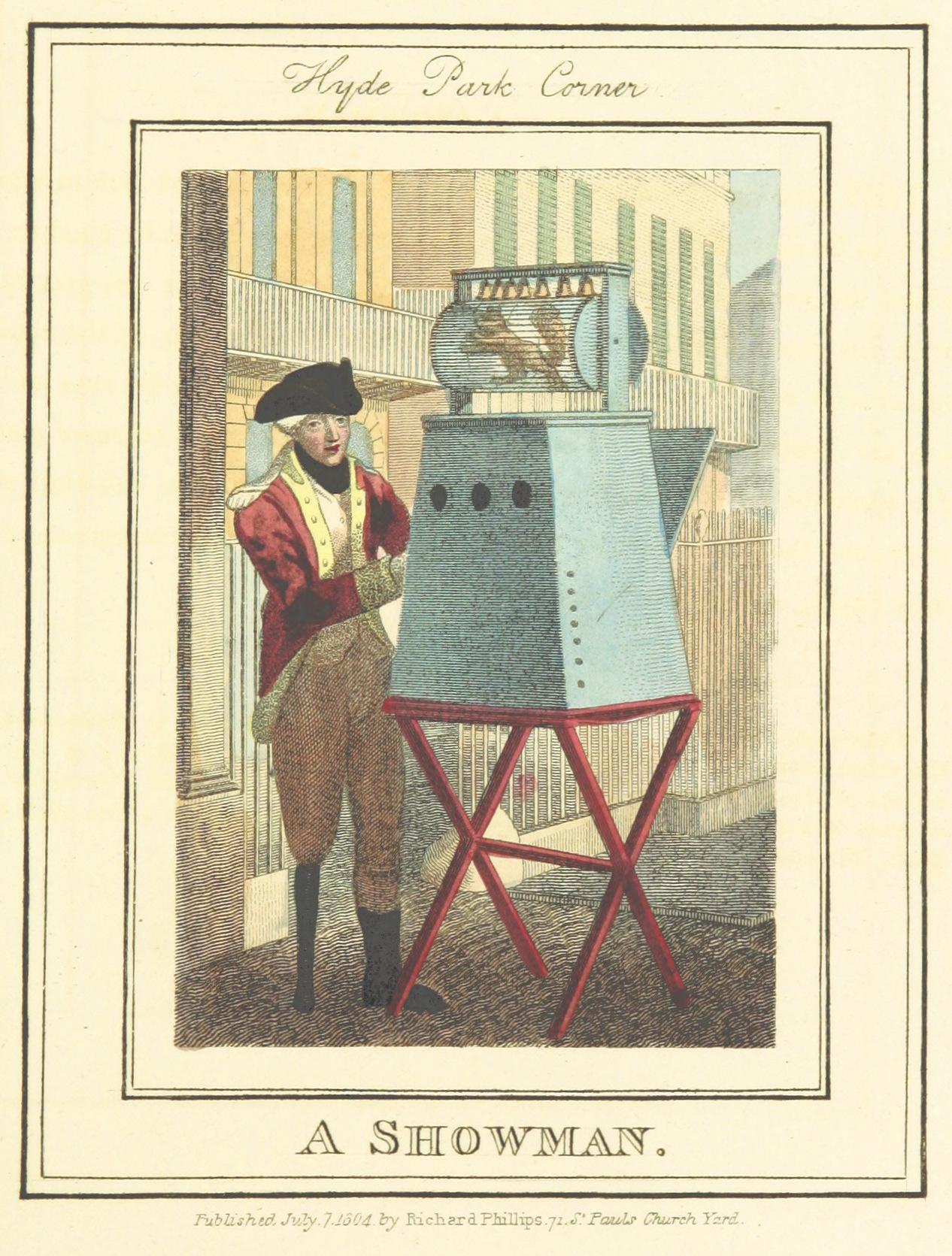 Phillips(1804)_p657_-_Hyde_Park_Corner_-_A_Showman