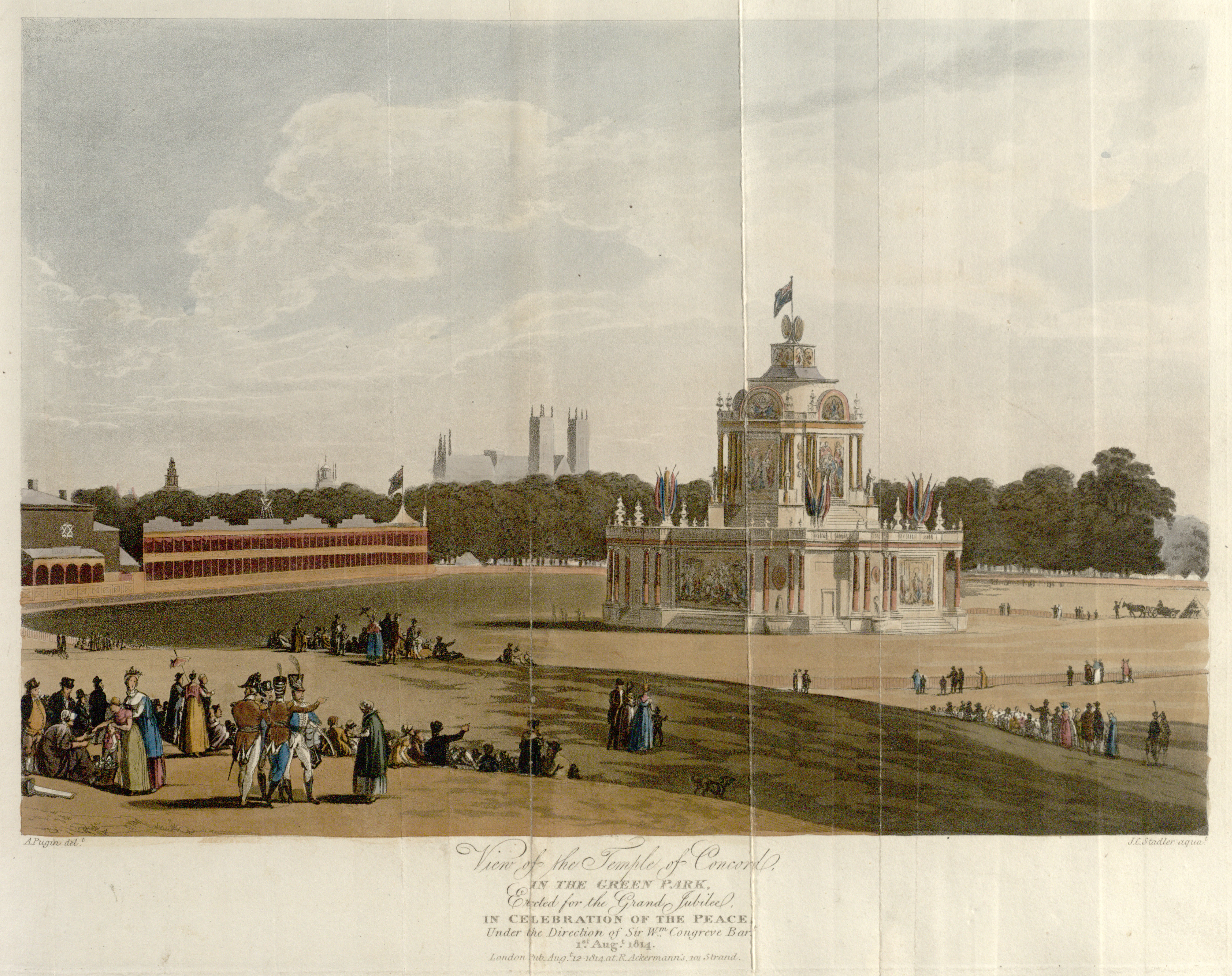 08 - Papworth - View of the Temple of Concord, in the Green Park, Erected for the Grand Jubilee, In Celebration of the Peace, Under the Direction of Sir Wm Congreve Bart