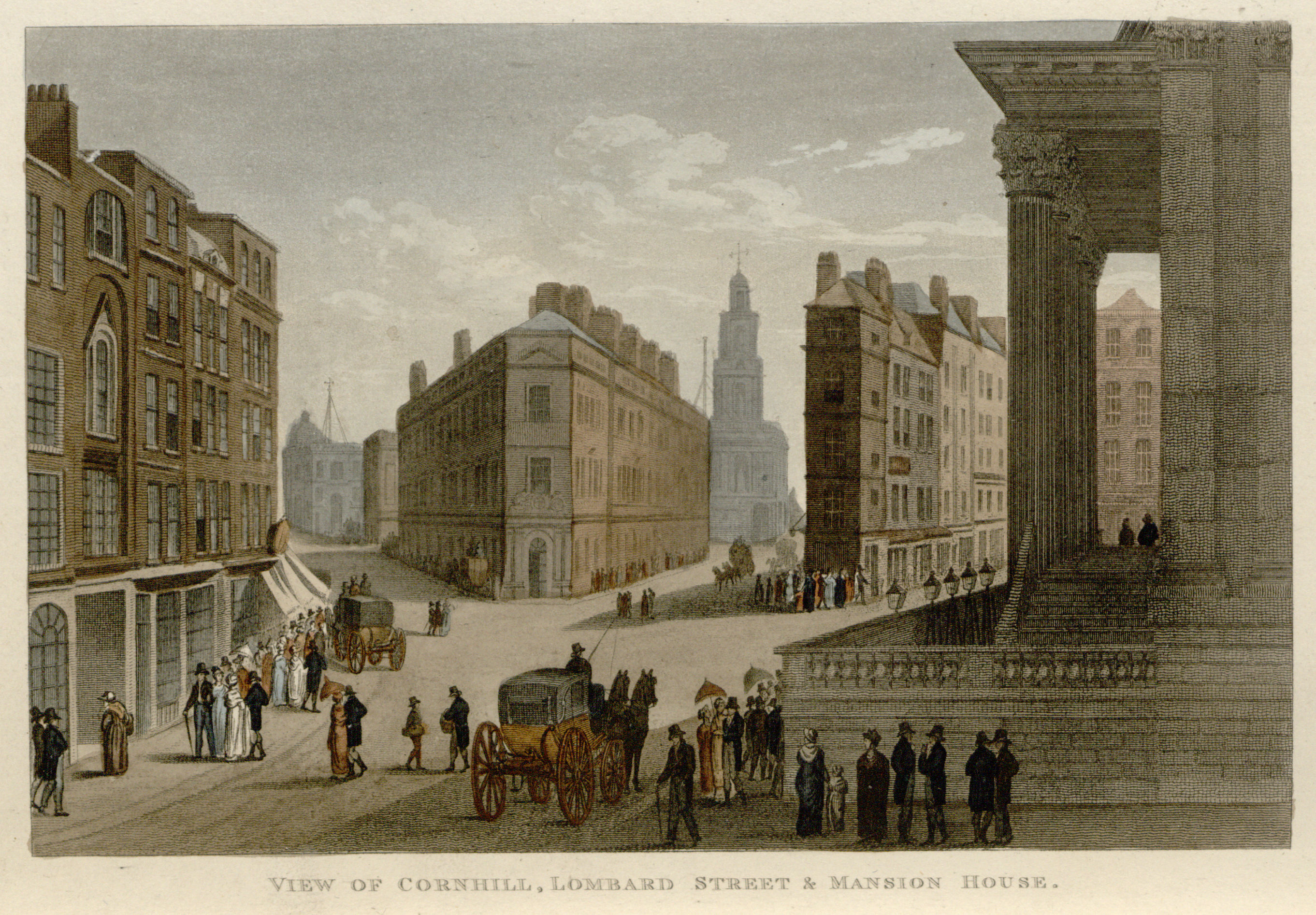 50 - Papworth - View of Cornhill, Lombard Street & Mansion House